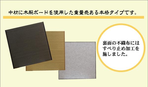 純国産(日本製) ユニット畳 『右京』 82×82×2.5cm 2枚(ベージュ1枚 ブラック1枚)1セット