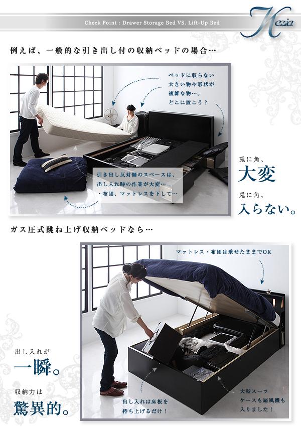 【組立設置費込】収納ベッド セミダブル【ポケッ...の説明画像6