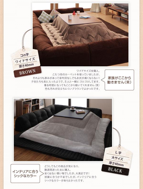 ソファー 40mm厚 ブラック コの字タイプ 小 こたつに合わせるフロアコーナーソファ