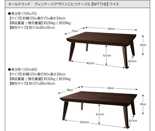 【単品】こたつテーブル 長方形(120×80cm)【WYTHE】ヴィンテージブラウン オールドウッド ヴィンテージデザインこたつテーブル【WYTHE】ワイス
