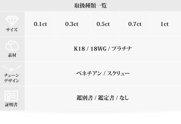 K18WG 0.5ctダイヤモンドペンダント/ネックレス ベネチアンチェーン