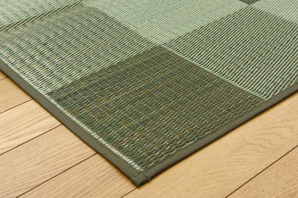 純国産 い草花ござカーペット 『ブロック』 グリーン 江戸間8畳(約348×352cm)