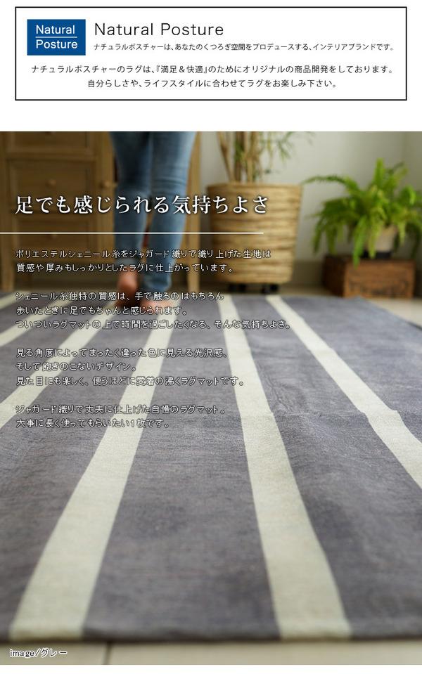 シェニール織 ヴィンテージボーダーラグマットPS800 200×200cm (TOS) レンガ