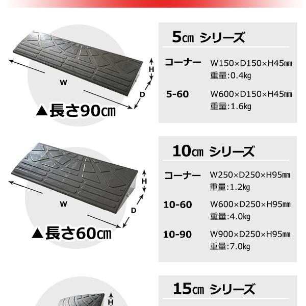 【4個セット】段差スロープ 幅60cm(ゴム製...の説明画像7