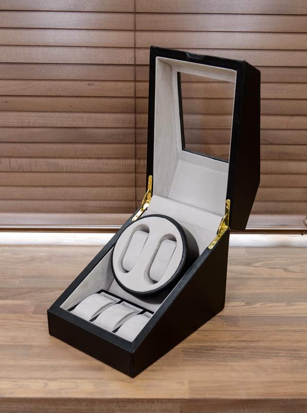 ワインディングマシーン(時計用収納ボックス) ブラック(黒) 【1台】 合成皮革/合皮 マブチモーター使用 【完成品】