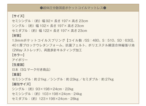 ベッド セミシングル【日本製ポケットコイルマ...の説明画像20
