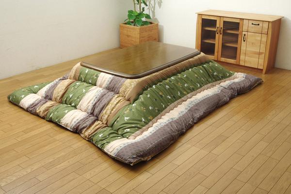 和柄 こたつ布団 正方形 掛け単品 『こよみ』 グリーン 約205×205cm