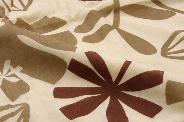 布団カバー 洗える 花柄 リーフ柄 『ルイード 枕カバー』 ブラウン 約43×63cm