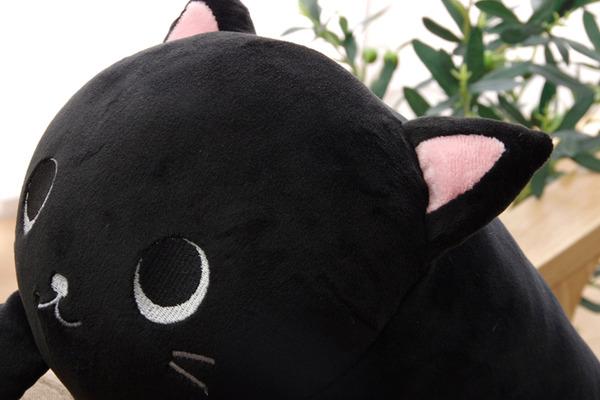 抱きまくら まくら 枕 クッション 動物 ねこ ネコ 猫 『ふわもち アニマル 抱き枕 黒猫』 ブラック 約20×57cm