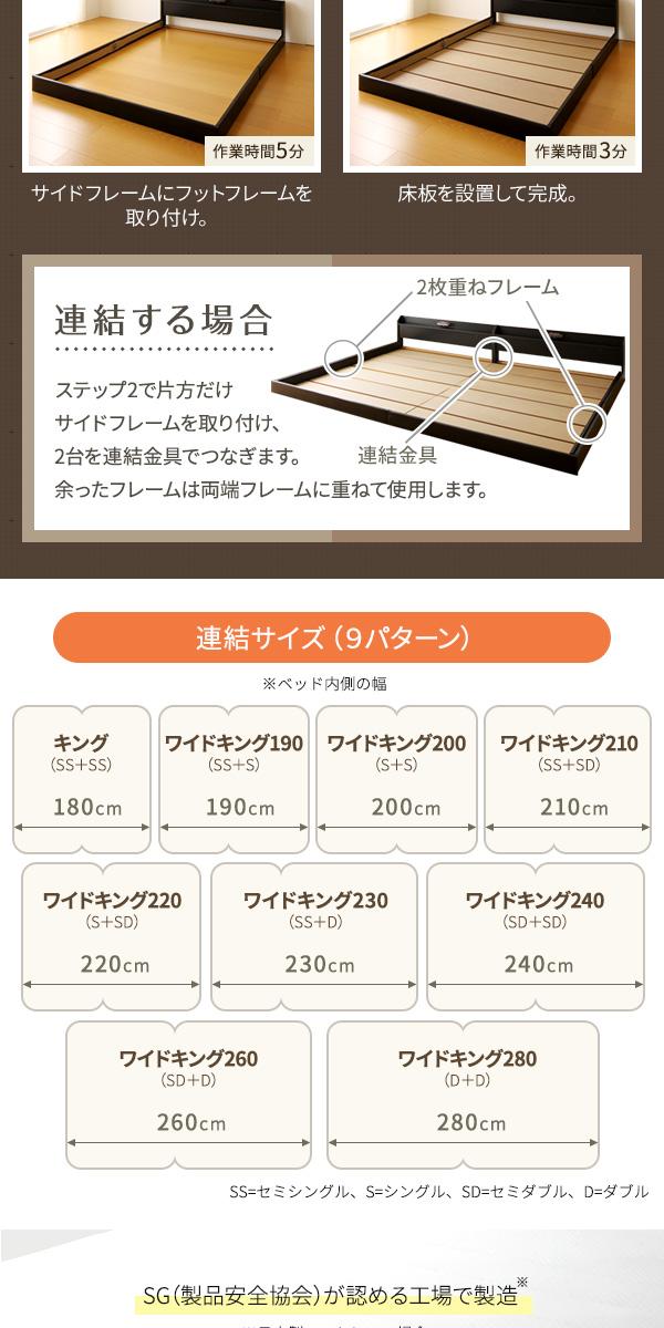 日本製 連結ベッド 照明付き フロアベッド キ...の説明画像7
