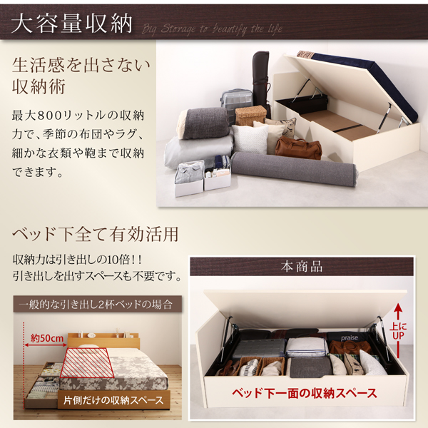 収納ベッド シングル 縦開き 深さラージ 【フ...の説明画像3