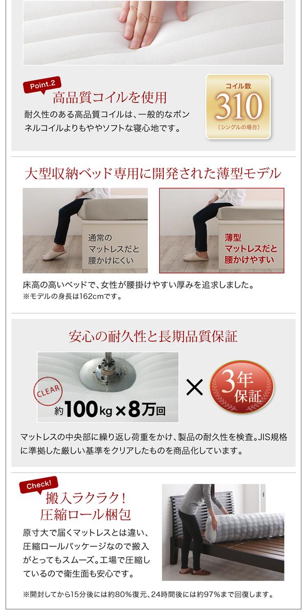 収納ベッド シングル 縦開き 深さラージ 【...の説明画像16