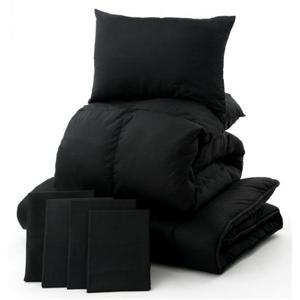 「黒」羽毛布団7点セット ベッドタイプ(セミダブル)