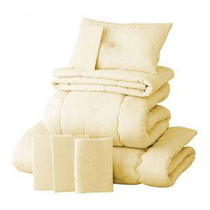 【ベッド専用】新20色羽根布団8点セット  ベッドタイプ・セミダブル アイボリー