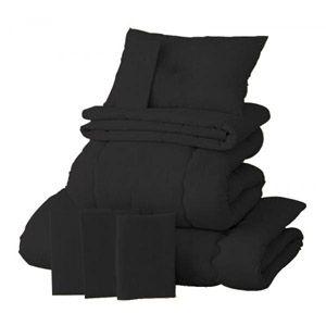 【ベッド専用】新20色羽根布団8点セット ベッドタイプ・セミダブル サイレントブラック