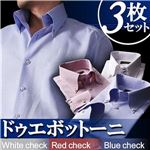 カラーステッチ ドゥエボットーニ ボタンダウンシャツ3枚セット カラー(ホワイト・レッド・ブルーチェック) 【Giorno ジョルノ BType】 3L
