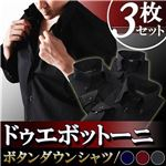 カラーステッチ ドゥエボットーニ ボタンダウンシャツ3枚セット ブラック(ネイビー・ワインレッド・シルバーグレーステッチ) 【Notte ノッテ Dタイプ】 M