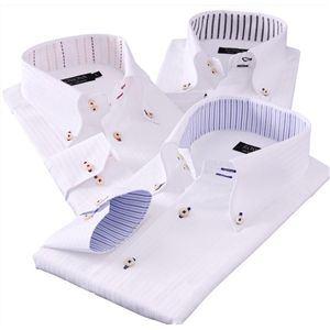 カラーステッチボタンダウン ドゥエボットーニ チラ見せシャツ3枚セット M