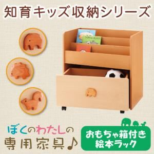 知育キッズ収納シリーズ 【おもちゃ箱付き絵本ラック】