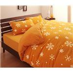 32色柄から選べるスーパーマイクロフリースカバーシリーズ ベッド用3点セット シングル 雪 オレンジ