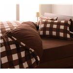 32色柄から選べるスーパーマイクロフリースカバーシリーズ ベッド用3点セット キング チェック ブラウン