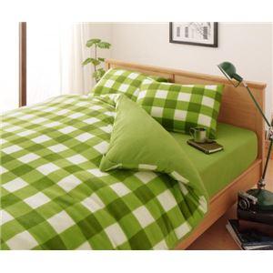 32色柄から選べるスーパーマイクロフリースカバーシリーズ ベッド用3点セット キング チェック グリーン