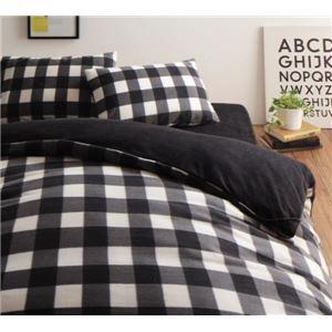 32色柄から選べるスーパーマイクロフリースカバーシリーズ ベッド用3点セット キング チェック ブラック