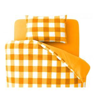 32色柄から選べるスーパーマイクロフリースカバーシリーズ 和式用3点セット ダブル チェック オレンジ