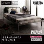 ベッド セミダブル フッドロー【Tiberia】【羊毛入りデュラテクノマットレス付き】フレームカラー:シルバーアッシュ デザインスチールベッド【Tiberia】ティベリア