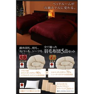 布団5点セット キング【ニューゴールドラベル】ミッドナイトブルー 高級ホテルスタイル羽毛布団セット