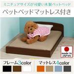 ベッド 【マットレス付】 フレームカラー:ブラック 寝具カラー:オレンジ ミニチュアサイズが可愛い木製ペットベッド Catnel キャトネル