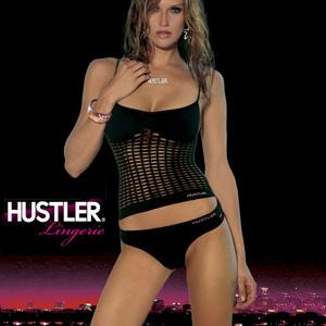 HUSTLER SHREDDED CONVERTIBLE CAMI&THONG BLACK S/M