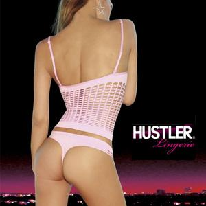 HUSTLER SHREDDED CONVERTIBLE CAMI&THONG VIRGIN PINK(薄いピンク) S/M