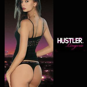 HUSTLER ULTRA SMOOTH CONVERTIBLE CAMI&THONG BLACK M/L