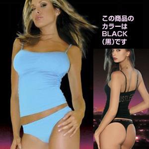 HUSTLER ULTRA SMOOTH CONVERTIBLE CAMI&THONG BLACK M/L