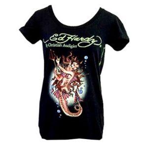Ed Hardy(エドハーディー) Tシャツコレクション W02BSCSC167 99 BK(ブラック Uネック) Sサイズ