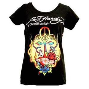 Ed Hardy(エドハーディー) Tシャツコレクション W02BSCSC297 99 BK(ブラック Uネック) XSサイズ