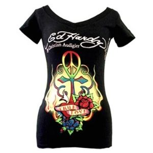 Ed Hardy(エドハーディー) Tシャツコレクション W02VNEK297 99 BK(ブラック Vネック) Sサイズ