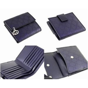 GUCCI(グッチ) ハートモチーフ 2つ折り財布 212105 FPN3G 4506 GG柄PVCコーティング×カーフ ブルー