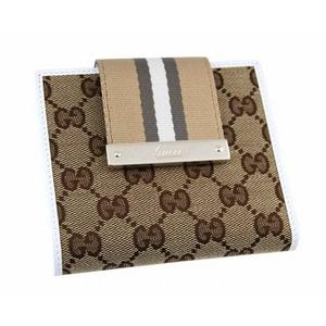 GUCCI(グッチ) 二つ折り財布 181669 F4CBG 8637 GGキャンバス ベージュ×ホワイト