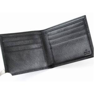 GUCCI(グッチ) 二つ折り財布 203601 BEC0T 1000 型押し牛革 ブラック