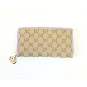 Gucci(グッチ) 212120 FFPAG 8591 ジッピー 長財布 ベージュ×ライト パープル