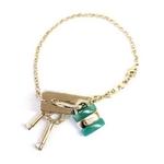 CHLOE(クロエ) 2B0160-AC5-654 パディントン ロゴモチーフ ブレスレット グリーン×ゴールド