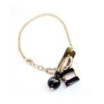 CHLOE(クロエ) 2B0161-AC5-001 パディントン ロゴモチーフ ブレスレット ブラック×ゴールド
