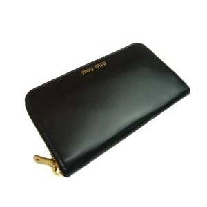 MIUMIU(ミュウミュウ) CAPRETTO BICOLOR5M0506 276 ブラック 財布 札入れ
