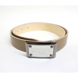 Dolce&Gabbana(ドルチェ&ガッバーナ) BC2530 A6321 80004 ロゴプレートバックル レザーベルト 85cm