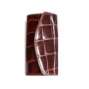 クロコダイル革 6連キーケース CROCODILE 2324 dark brown