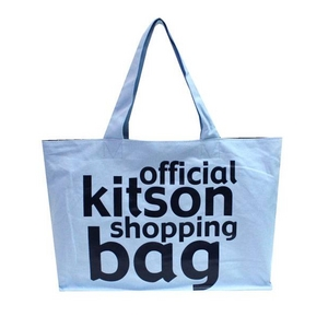 KITSON(キットソン) KHB0141 ロゴ ショッピングエコトートバッグ ライトブルー×ブラック