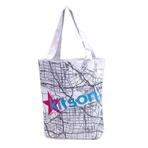 KITSON(キットソン) KHB0156 ロゴ ショッピングエコ トートバッグ ホワイト×ブルー