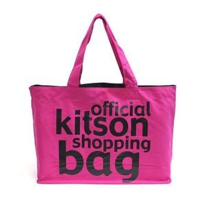 KITSON(キットソン) KHB0165 ロゴ ショッピグエコントートグバッグ ピンク×ブラック